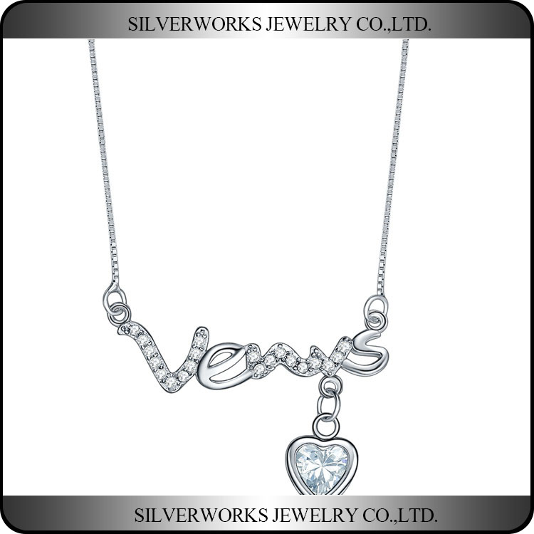 2016 New Design 925 Sterling Silver Venus Letters Necklace, Romantic Gift For Her