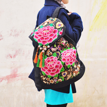 China ethnic embroidery woman canvas hiking backpack