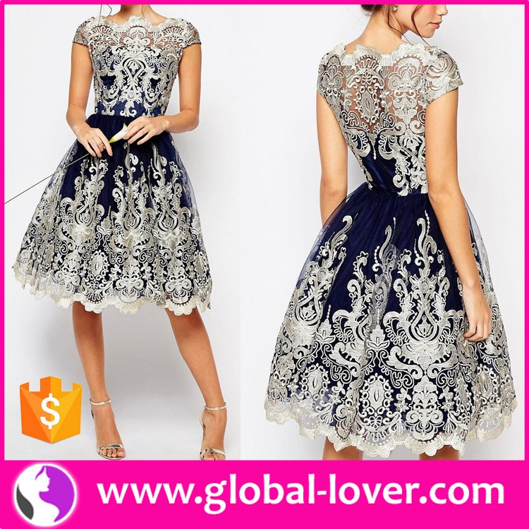 Wholesale New Arrival Elegant Ladies Vintage Lace Dresses for Women 2017