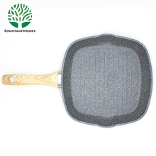 28 CM Square Electric and gas Medical Stone Non-stick Coating Grill Pan with oil mouth