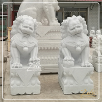 Hand Carved Classic Design Stone Marble Foo Dog Sculpture