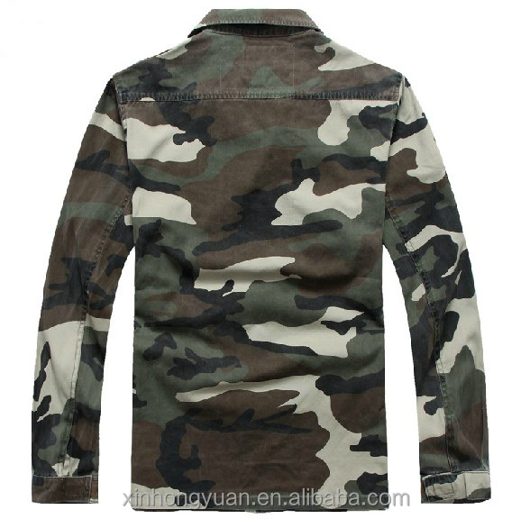 Camouflage printing military man polycotton army woodland shirts for wholesale