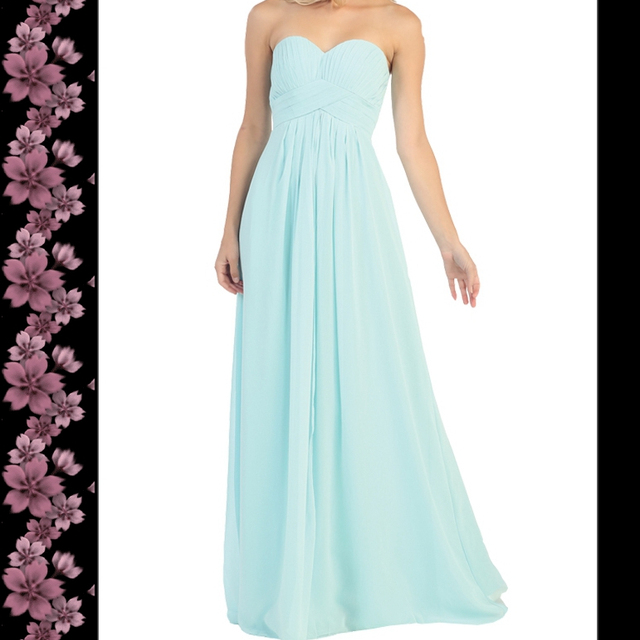 Strapless chiffon simple wholesale evening dress long bridesmaid dress