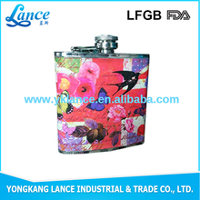 2016 Hot selling new fashion copper drinking pot stainless steel hip flask with pretty picture