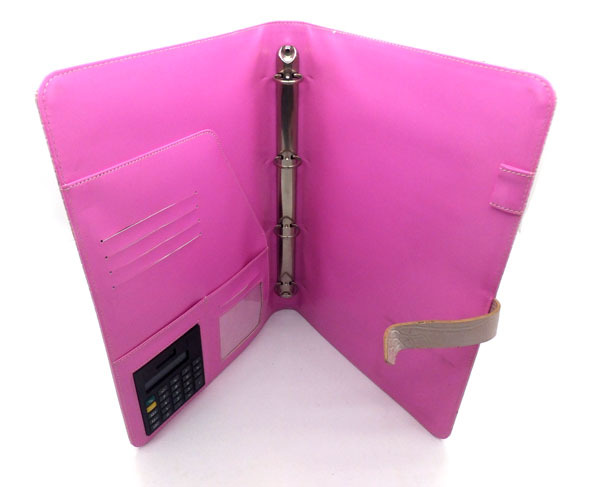 Factory Hot Sell Handmade 4 Holes Ring Binder Padfolio With Calculator