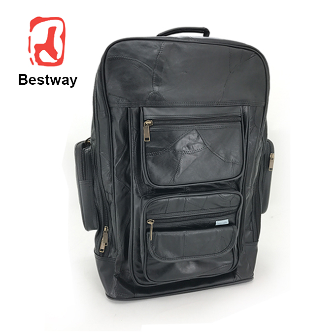 Wholesale leather children cheap trolley school bags with wheels