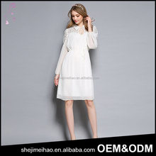 White Color Cotton Material One Piece Dress Polo Shirt Neck Lace Design Formal Long Sleeve Dress for Office Lady
