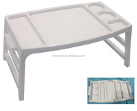Folding laptop bed table with cup holder