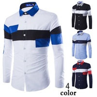 New European style men's casual long sleeve shirts splicing