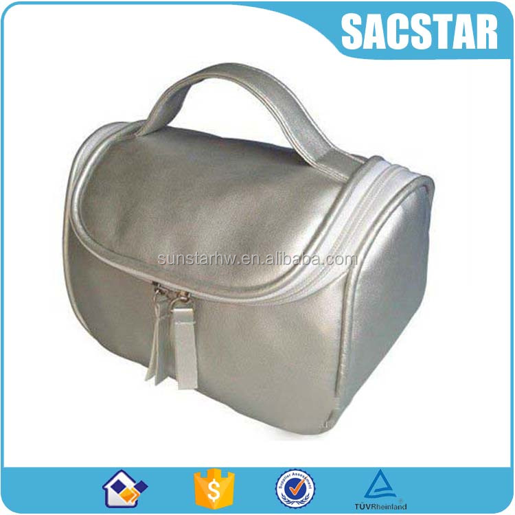 Shiny PU leather travel cosmetic pouch makeup bag