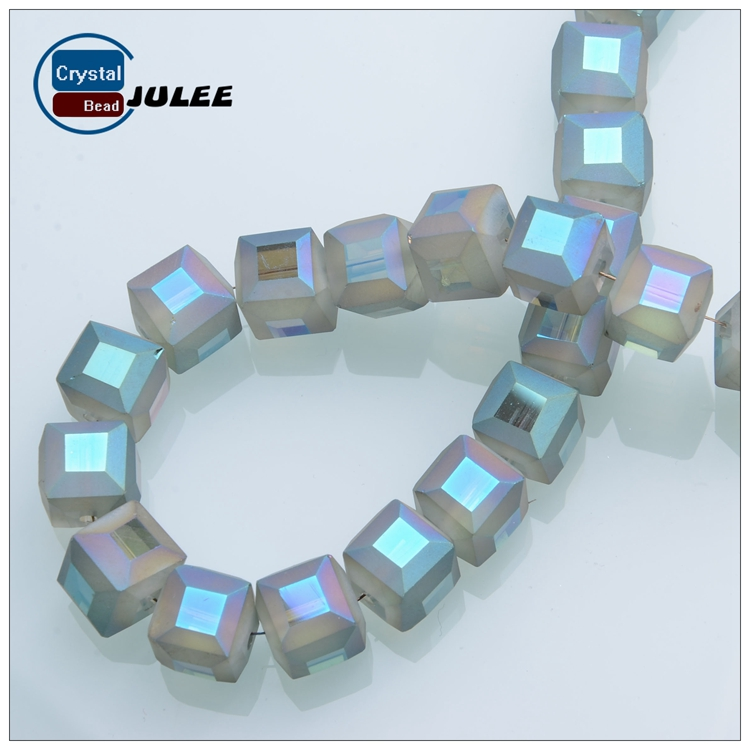 8 mm Frosted Glass Beads Crystal Square Shape Beads in Bulk