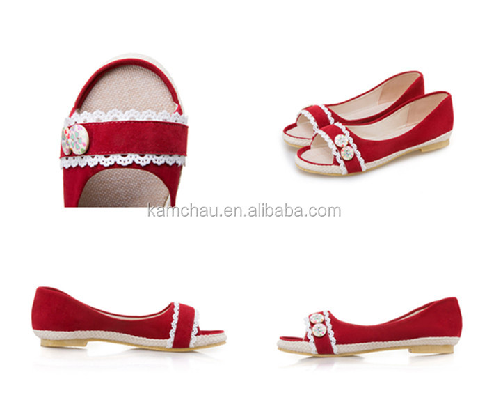 Trendy popular model top quality cute silp on wide open toe girl red sneakers loafers for sale