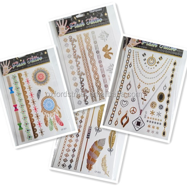 Jewelry Inspired Temporary Tattoo Sticker Gold Tatts