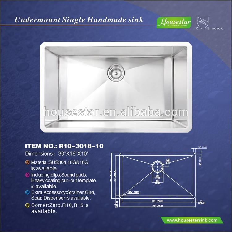 Promotion Price High Quality Handmade Stainless Steel Kitchen Sink For Marble And Portable Used Undermount Series--- R10-3018