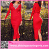 Long Sleeve Women Sexy red tight sweater dress