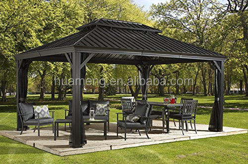 hard top solid metal roof aluminum galvanized steel roof luxury garden gazebo 12x16ft