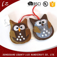 2015 new design best selling hot handmade wholesale polyester Christmas felt garden decoration owl ornament for artificial trees