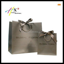 Recycled kraft paper bag tied ribbon with handle,small&large size paper shopping bag