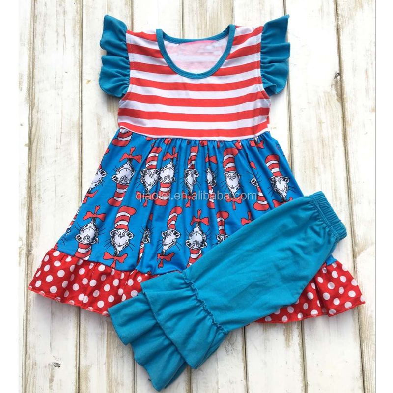 Hot sell blue fancy cat in hat baby clothes high quality boutique girl outfits