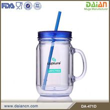 Transparent Plastic Mason Jar Tumbler With Straw And Handle