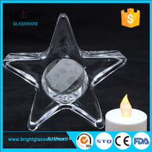 Star design Glass tealight candle holder