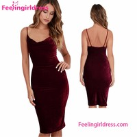 Hot Stuff Wine Red Velvet Deep V Neck Back Open Dresses