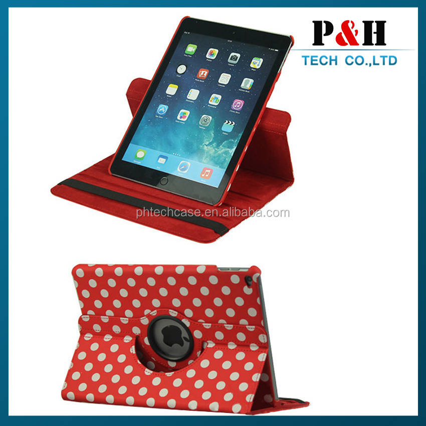 Popular Customized 360 Rotatable Printing Stand Pu Leather Case For Ipad Air 2