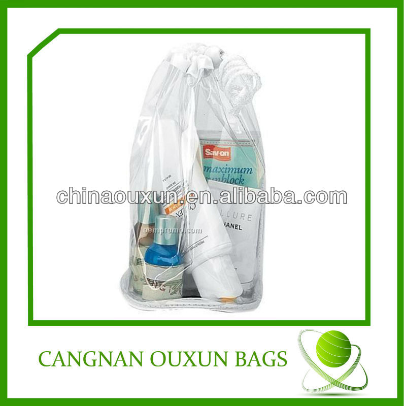 Transparent pvc cosmetic drawstring bag