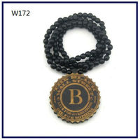 Wood Necklace Hip hop Black&Wood color Round WALL Beaded Fashion rosary Factory price W172