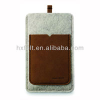 100% wool felt mobile phone sleeve with leather card pocket