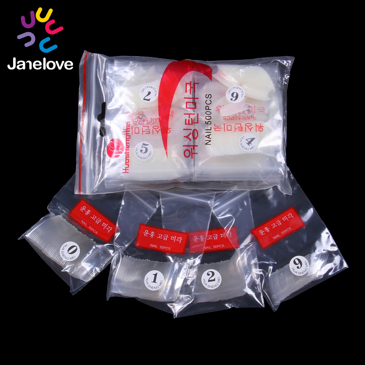 ABS false nail tips design 10 sizes each 50 pcs per bag