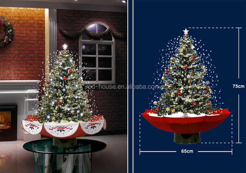 Snowing Christmas Tree with Umbrella Base