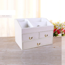 3 drawer makeup organizer cosmetic storage display box pu leather Jewelry storage boxes