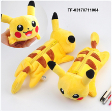 Cartoon Plush Pikachu pencil case Cute Bts Pokemon pencil bag for kids toy gift Korean stationery pouch Office school supplies