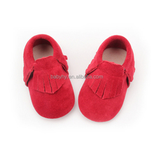 Hot Red Suede Leather Soft Baby Girls Boy Toddler Infant Moccasin Shoes