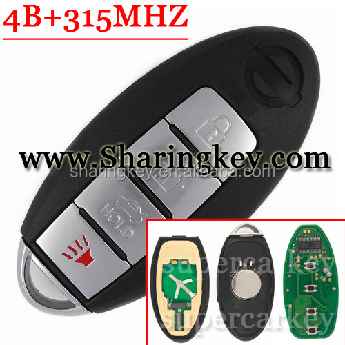 Best quality 4 buttons Remote Key for Nissa Altima Maxima Sentra 350Z Teana Sylphy Tiida Qashqai Livina Sunny 315MHz Chip ID46