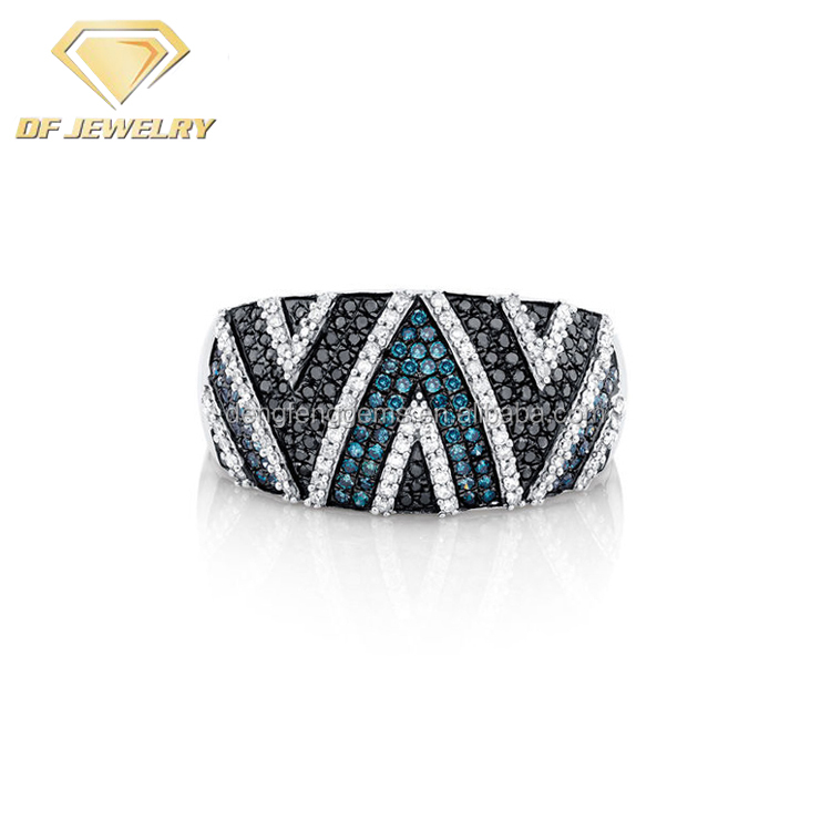 Plated White Gold Men Champion Ring With Blue Black CZ Diamonds