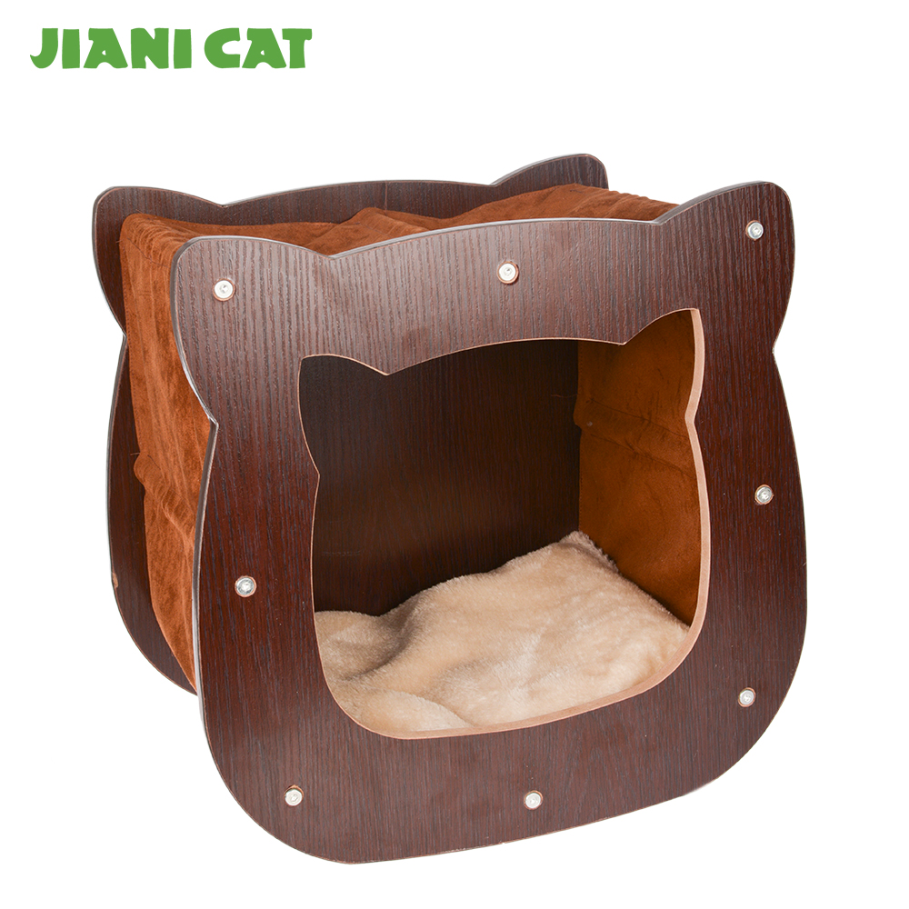 fashion cat shaped wooden style cute designed cat scratcher house