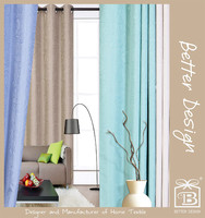 1pc blue/taupe/teal/beige fancy wholesale 100% polyester solid weaving discount blackout type of office window curtain