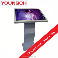Floor standing touch screen all in one kiosk digital signage ir touchframe 32 inch to 55 inch metal adjustable angle tilted tabl