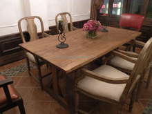 wholesale furniture china Chinese antique solid wood dinning table set reclaimed wood table top