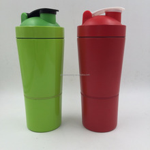 Stainless Steel Protein Shaker Bottle with 2 Compartments & Shaker Ball BPA Free