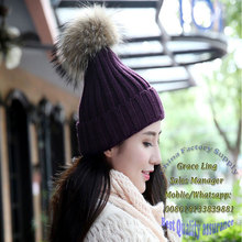 Funny Winter Hats for women Knitting Wool Hat Raccoon Fur Pom Poms with Button