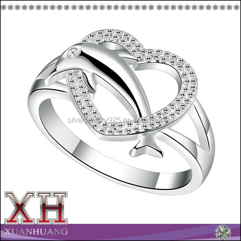 Xuan Huang Jewelry Women 925 Silver Heart Dolphin Eternity Rings