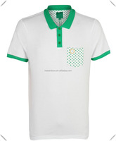 Stylish mens golf sports polo shirt with sublimation printing pocket and contrasting colouring to the placket, collar wholesale