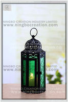 Wholesale Powder Coating Garden Decorative Moroccan Lanterns With Colorful Glass, Handmade Metal Moroccane Lantern for wedding