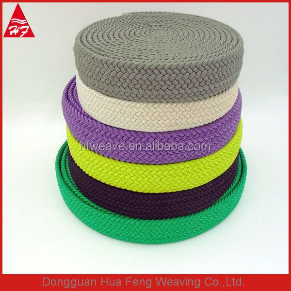 Colored woven braided elastic band for belt