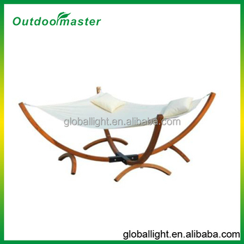 Garden Wooden Frame Hammock Swing Chaise Longue Awning Chair