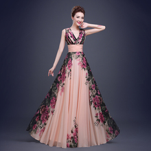Fashion Elegant Flower Printing Deep V Neck Chiffon Long Evening Gown Dress