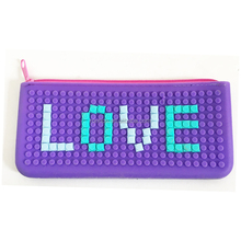 DIY Pixel Silicone Pencil Bags New Children Puzzle School Pen Pouch